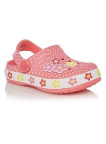 Girls Pink Floral Clogs