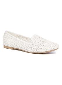White Open Weave Slipper Cut Shoes