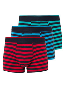 3 Pack Multicoloured Striped Hipster Briefs