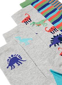 7 Pack Fun Dinosaur Socks