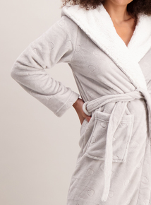 Grey Heart Hooded Longline Dressing Gown