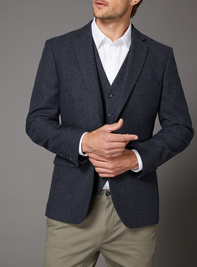 Navy Herringbone Jacket