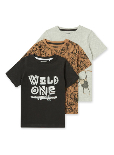 3 Pack Multicoloured Wild One T-Shirts (9 months-6 years)