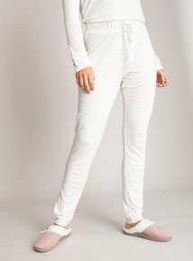 Cream Heart Print Pyjama Bottoms
