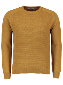 Ochre Seed Stitch Crew Neck Jumper