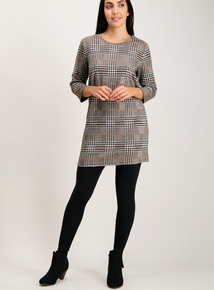 Brown Textured Check Tunic