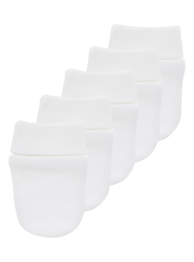 Unisex Plain White Mittens 5 Pack
