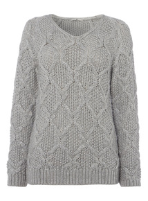Grey Diamond Stitch Jumper