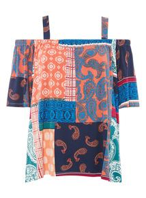 Multicoloured Indonesia Cold Shoulder Top