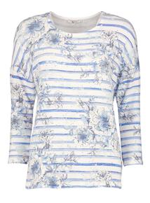 Cream & Blue Nautical Stripe Floral Top