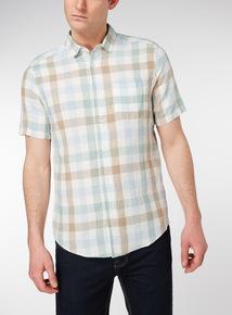 Pastel Blue check Linen Rich Regular Fit Shirt