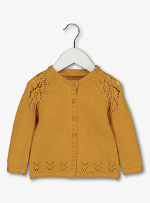 Mustard Crochet Detail Cardigan (0-24 months)