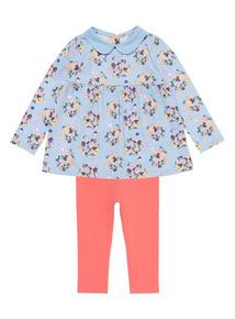 Girls Blue Dress and Leggings 2-Piece Set (0-24 months)