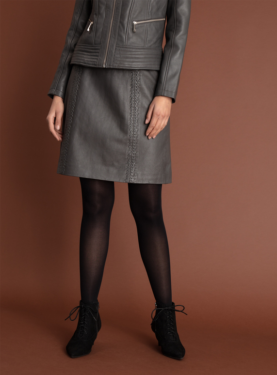 original hot-selling professional buy online SKU: ONLINE EXCLUSIVE LEATHER WHIPSTITCH SKIRT:Charcoal