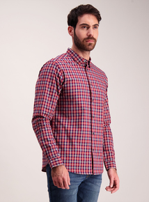 Red And Blue Long Sleeved Check Regular Fit Shirt