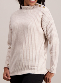 Cream Rib Button Detail Jumper