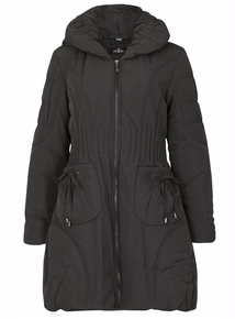 DAVID BARRY Black Quilted Hooded Coat