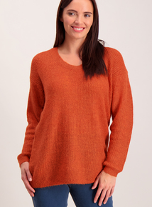 Burnt Orange Cut-Out Back Jumper