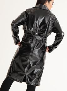 GFW Black Vinyl-Effect Trench Coat