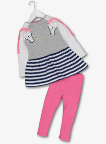 Multicoloured Unicorn Sweatshirt & Legging Set (1-6 years)
