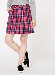 Pink Check Kilt Skirt