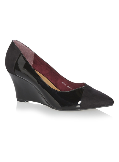 new lifestyle high fashion on feet shots of SKU WEDGE POINT COURT PATENT AW14:Black