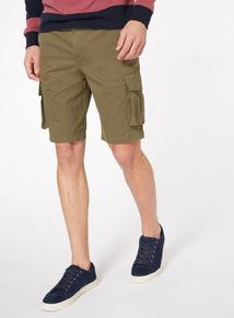 Khaki Twill Cargo Shorts