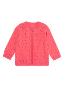 Bright Pink Broderie Bomber Jacket (0 - 24 months)