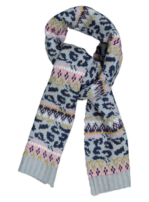 Multicoloured Animal Pattern Fairisle Scarf