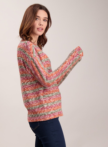 Multicoloured Stripe Knit Look Top