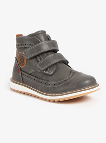 Grey Twin Strap Brogue Style Boot (Infant 6-4)