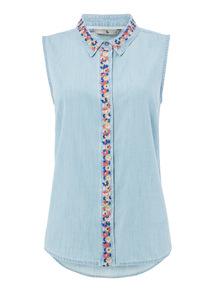 Mid Denim Embroidered Sleeveless Shirt