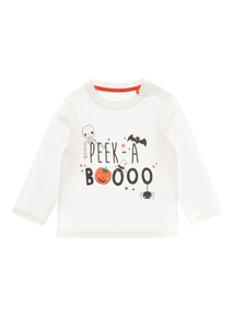 White Halloween Printed Tee (0-24 months)