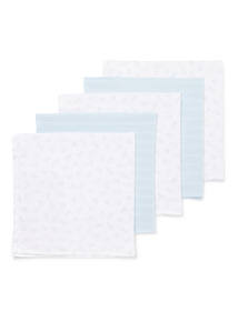 5 Pack Blue Muslin Squares (0-24 months)