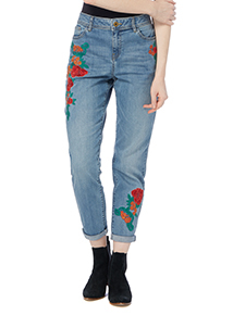 Denim Girlfriend Embroidered Jeans