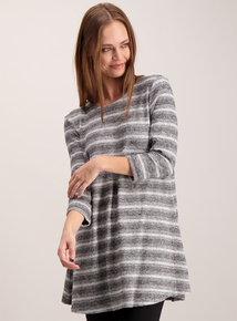 Grey Striped Knitted Long Line Tunic