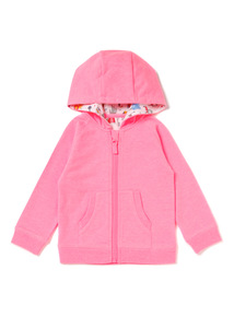Neon Pink Zip Through Hoodie (0-24 months)
