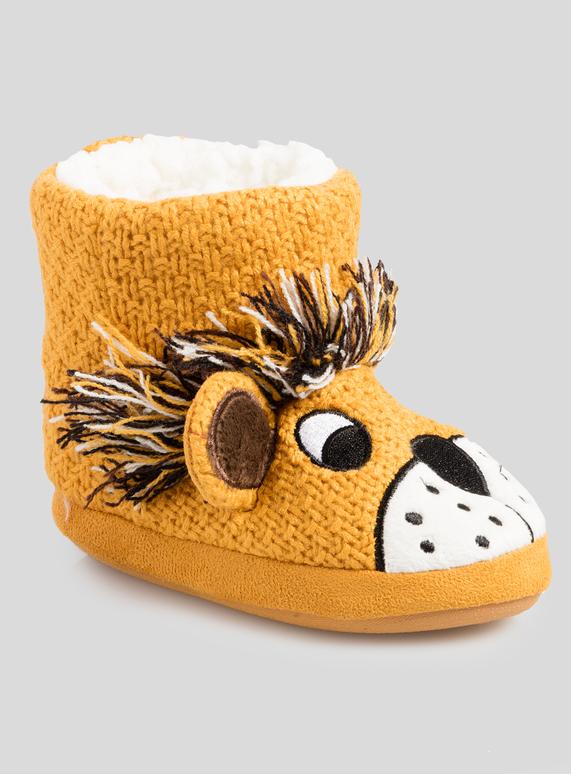 76c854441647 Kids Yellow Lion Novelty Slipper Boots (6 infant - 4 child)