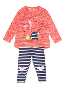 Girls Red Mouse Top And Leggings Set (0-24 months)