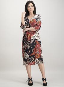 Online Exclusive PETITE Multicoloured Paisley & Leopard Print Wrap Dress