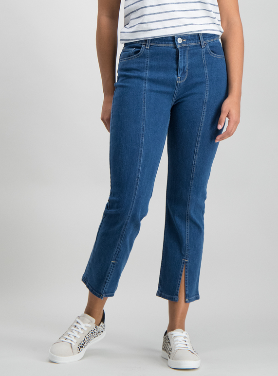 Denim Split Front Cropped Jeans