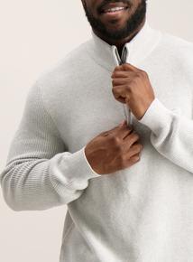 Pale Grey Half Zip Pique Stitch Jumper