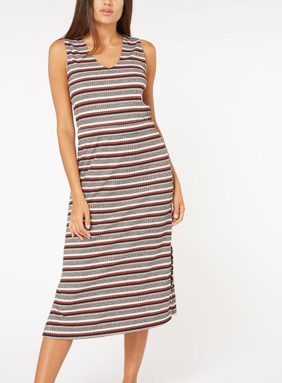 Multicoloured Stripe Ribbed Midi Dress