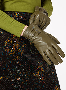 Green Leather Gloves