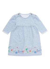Girls Blue Embroidered Sweat Dress (0-24 months)