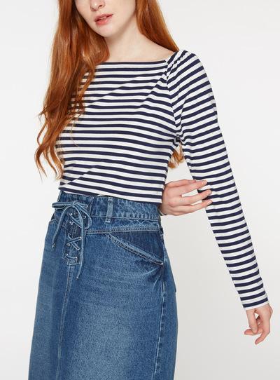 Navy Stripe Bardot Top