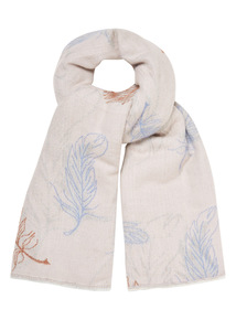 Brushed Feather Print Scarf