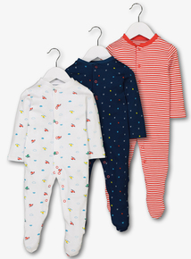 Multicoloured Helicopter Print Sleepsuits 3 Pack