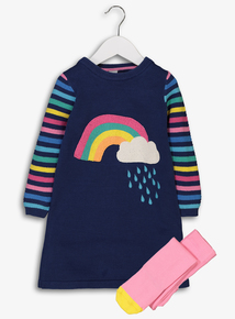 Navy Rainbow Knit Dress With Tights (9 months-6 years)