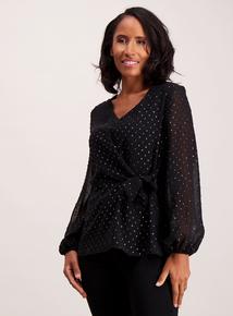 Black Textured Tie Front Blouse